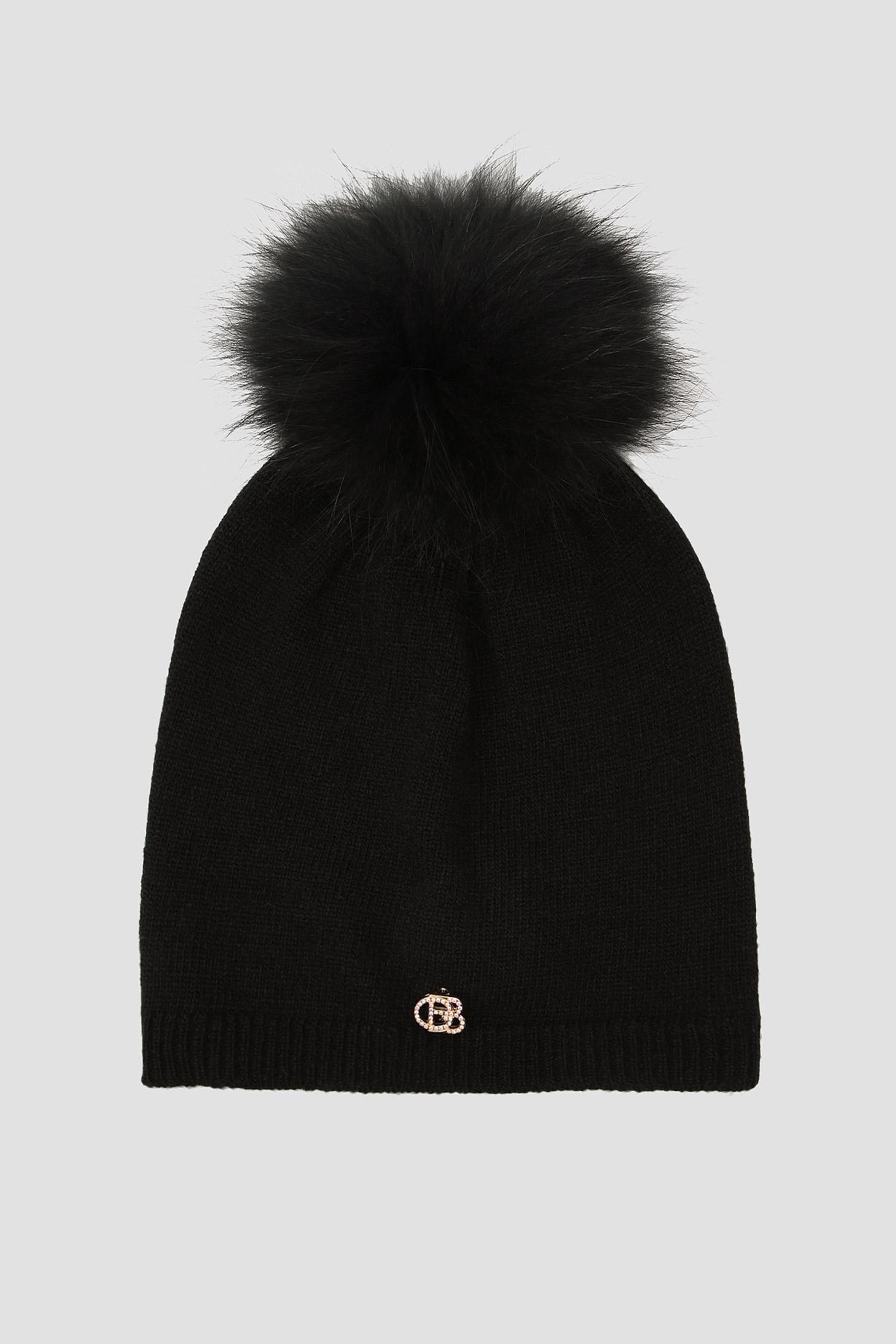 Черная шерстяная шапка для девушек Baldinini 121502;00