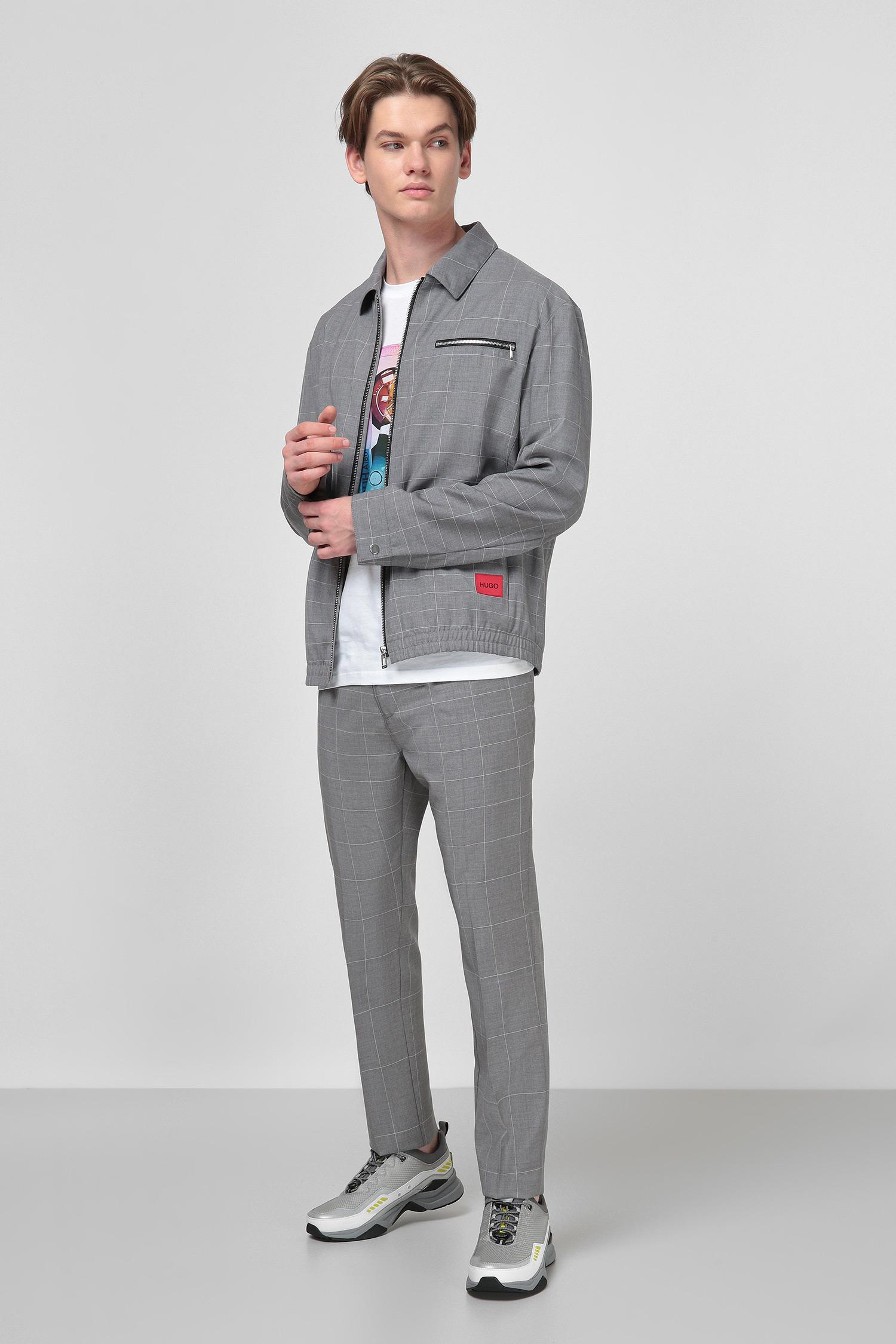 Серый шерстяной пиджак в клетку для парней HUGO 50430500;082