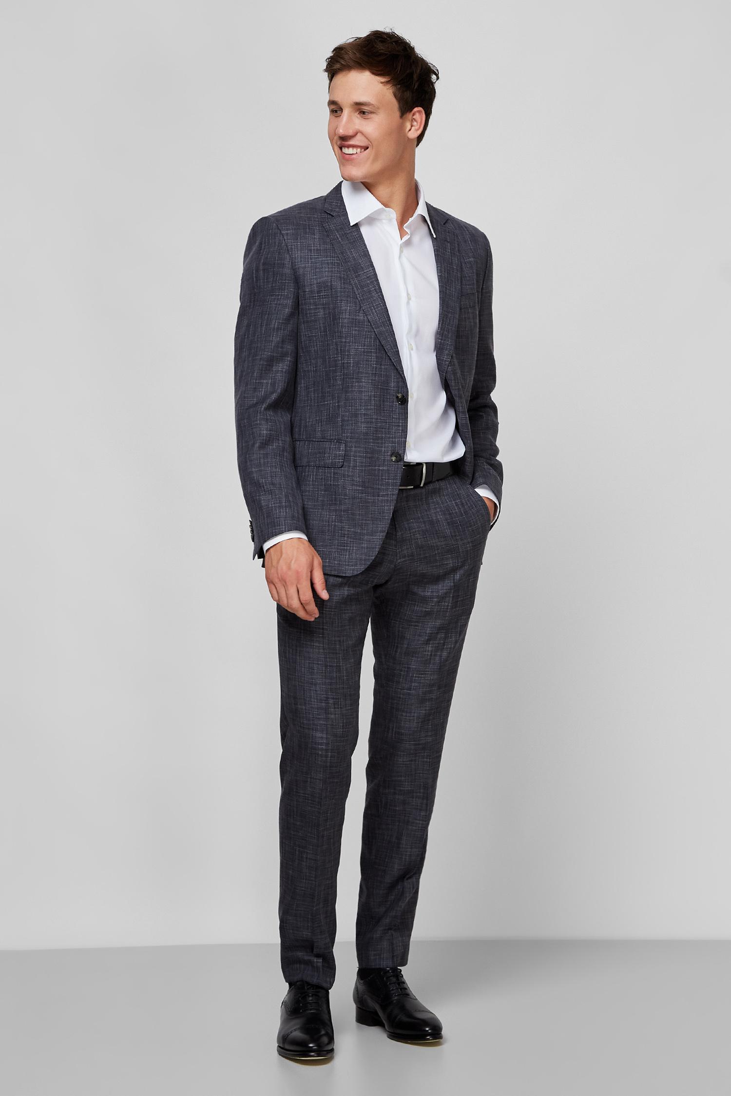 Мужской темно-серый шерстяной костюм (пиджак, брюки) BOSS 50432871;061