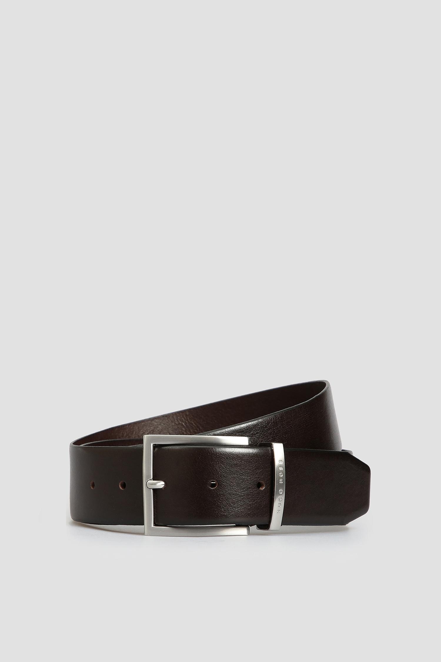 Мужской темно-коричневый кожаный ремень BOSS 50292246;202