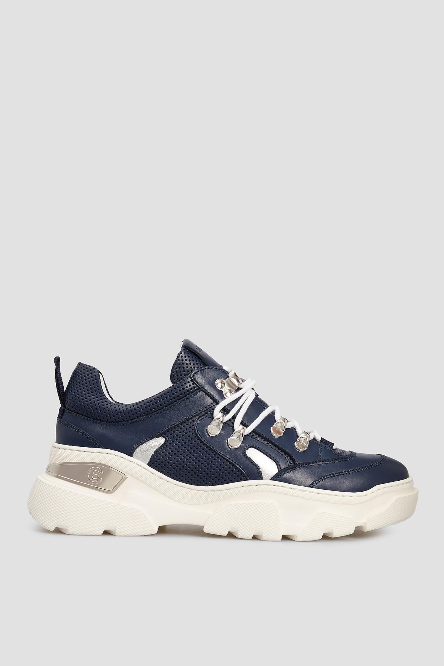 Женские темно-синие кожаные кроссовки Baldinini 198026;1006