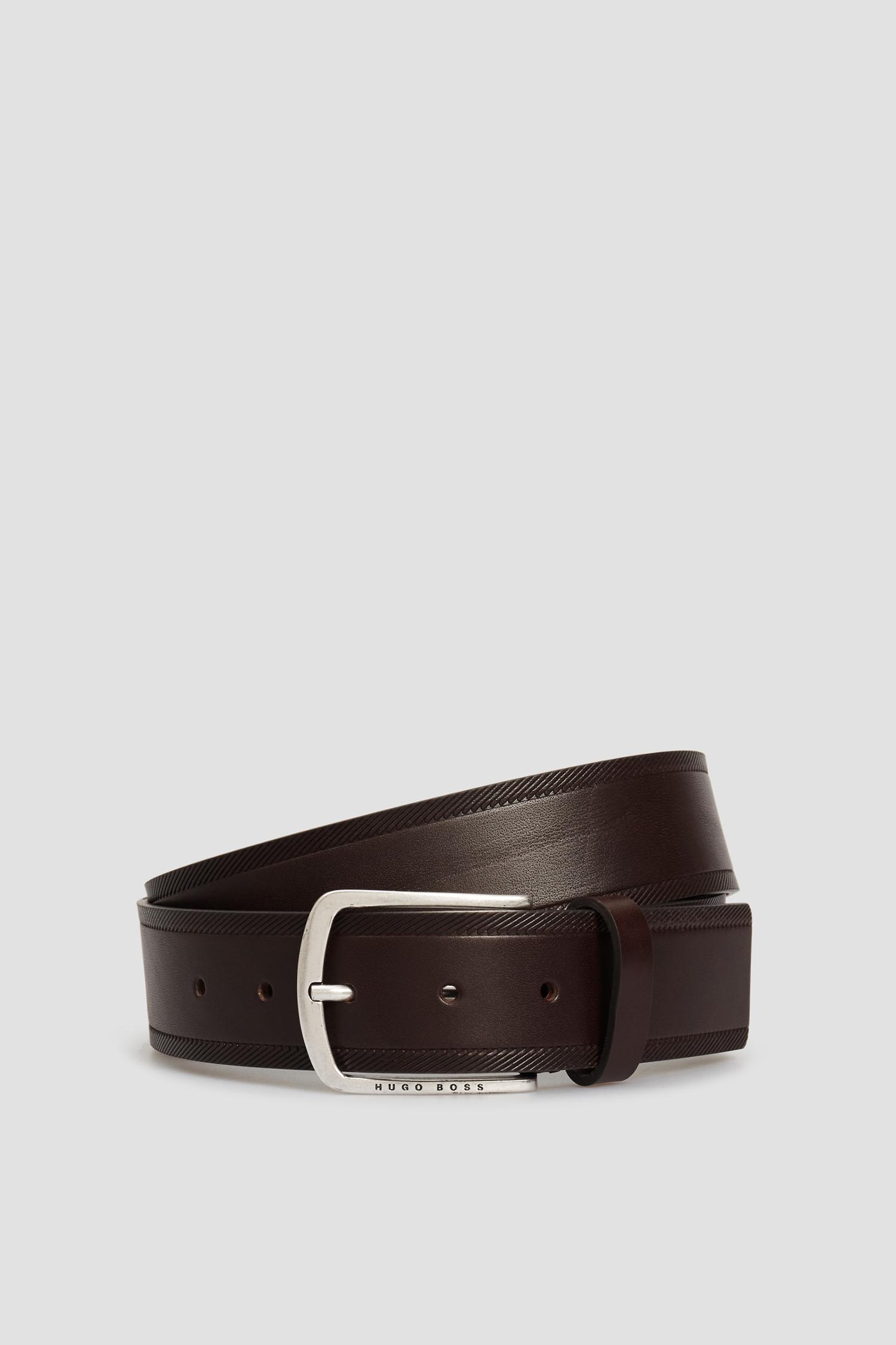 Мужской темно-коричневый кожаный ремень BOSS 50452738;202