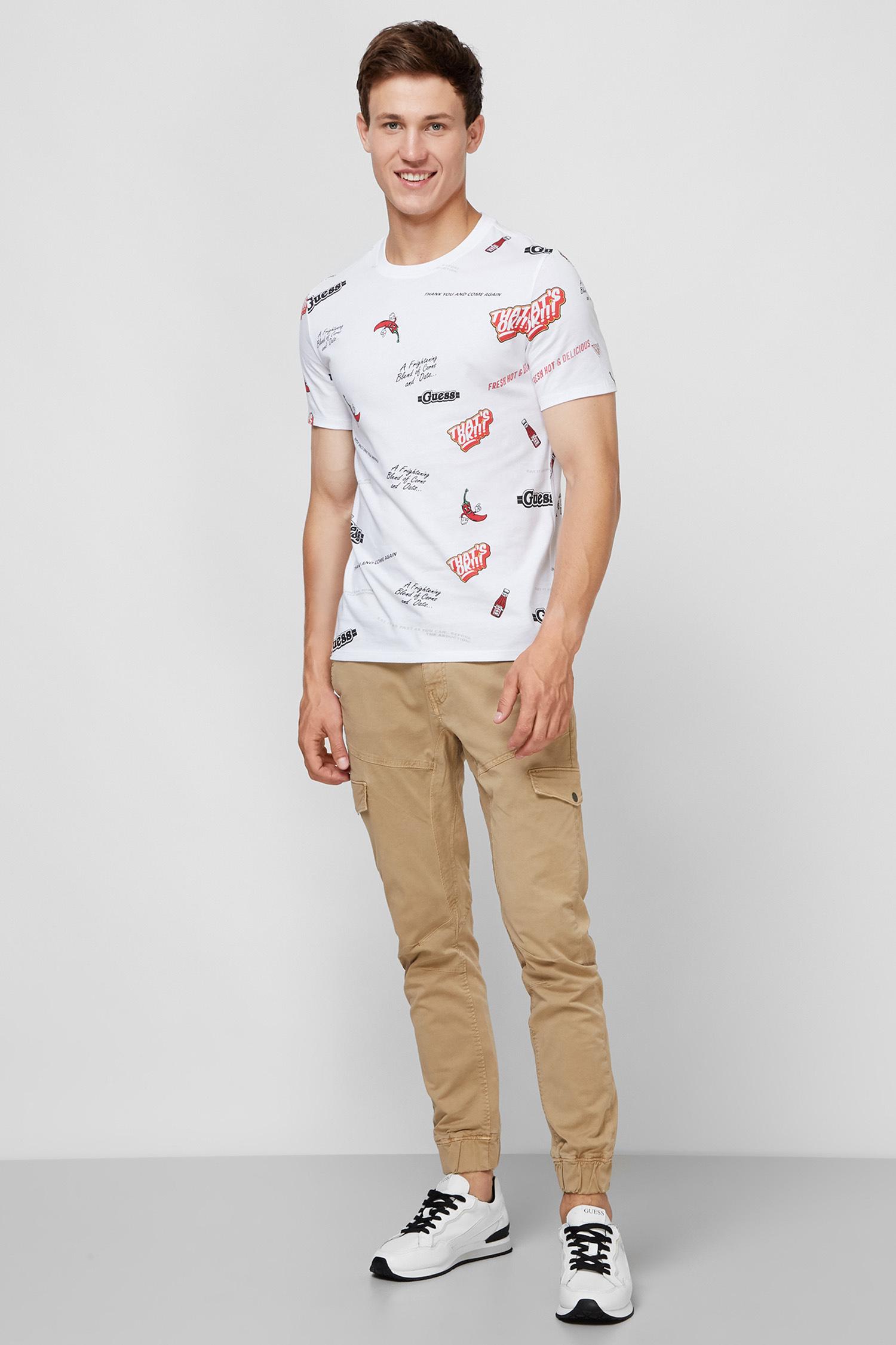 Мужская белая футболка с принтом Guess M0YI77.I3Z00;P01K