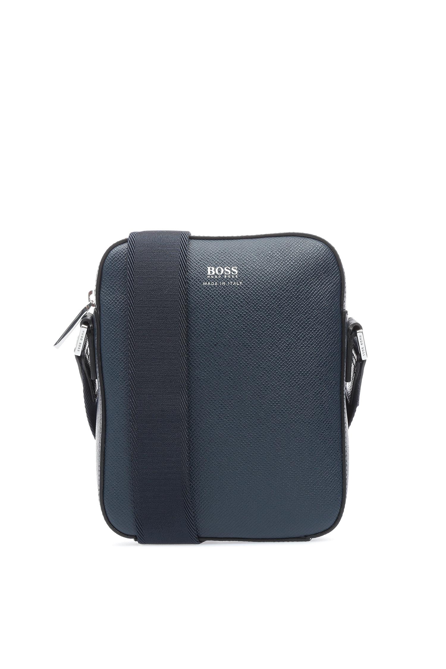 Мужская синяя кожаная сумка через плечо BOSS 50397229;401