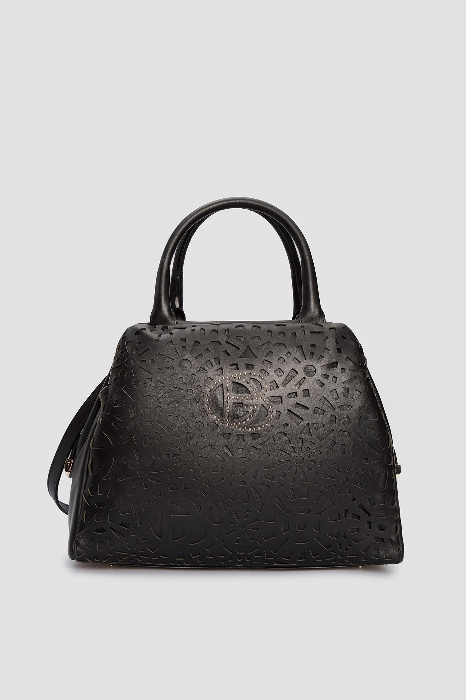 Женская черная кожаная сумка Baldinini 170210;00