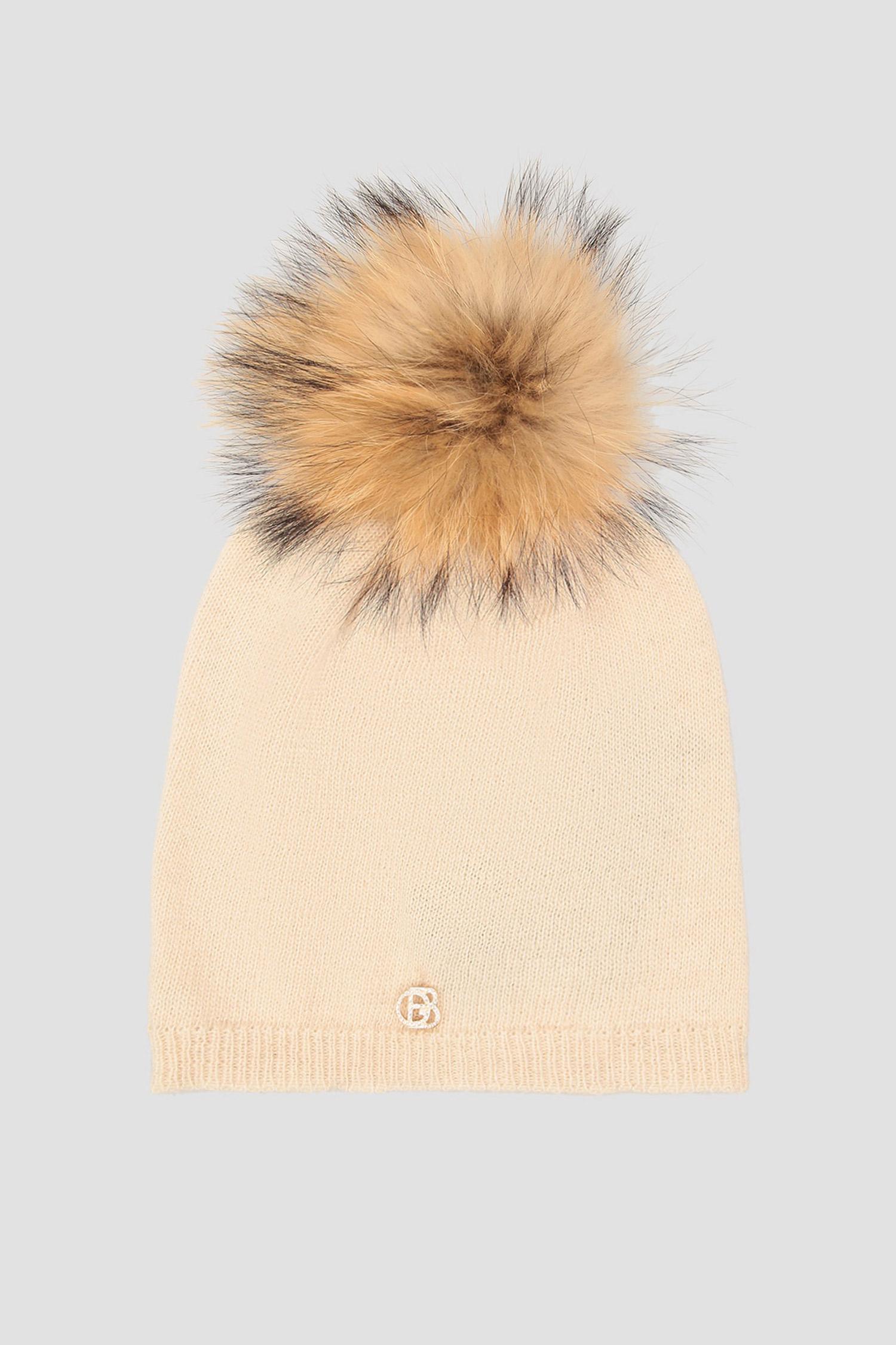 Бежевая шерстяная шапка для девушек Baldinini 121502;98
