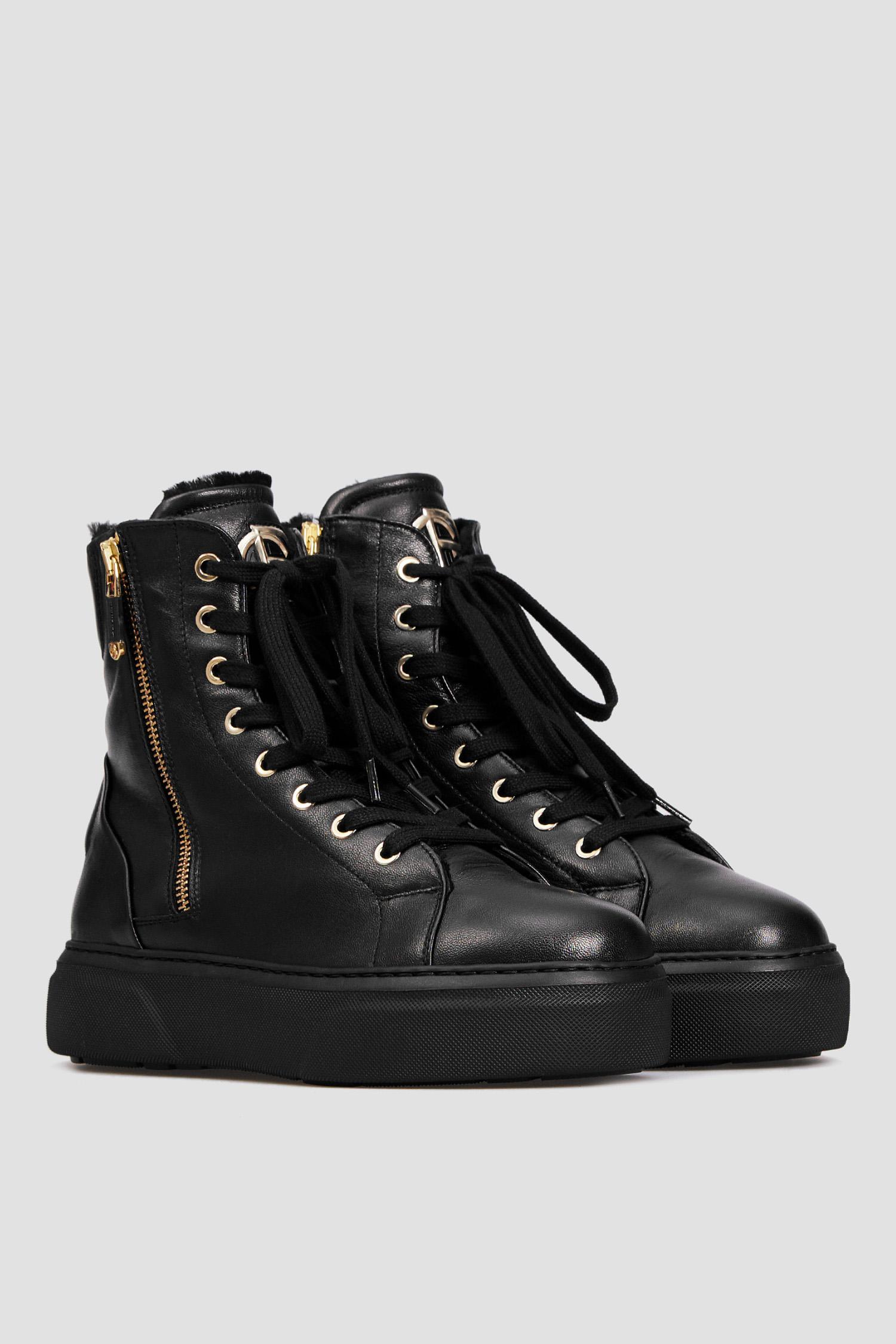 Женские черные кожаные хайтопы Baldinini 148758A;00