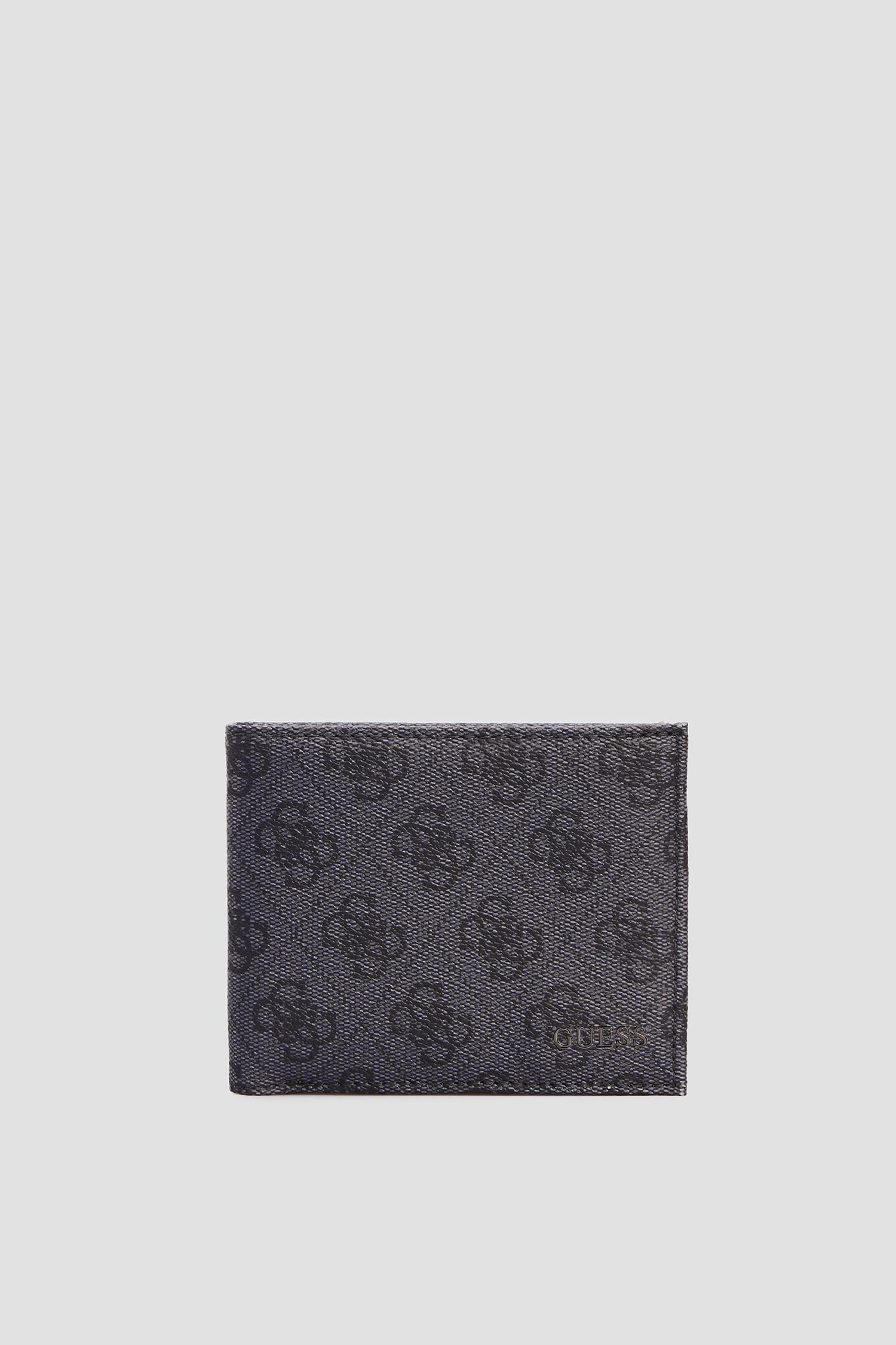 Мужской серый кожаный кошелек Guess SMVEZL.LEA38;BLA