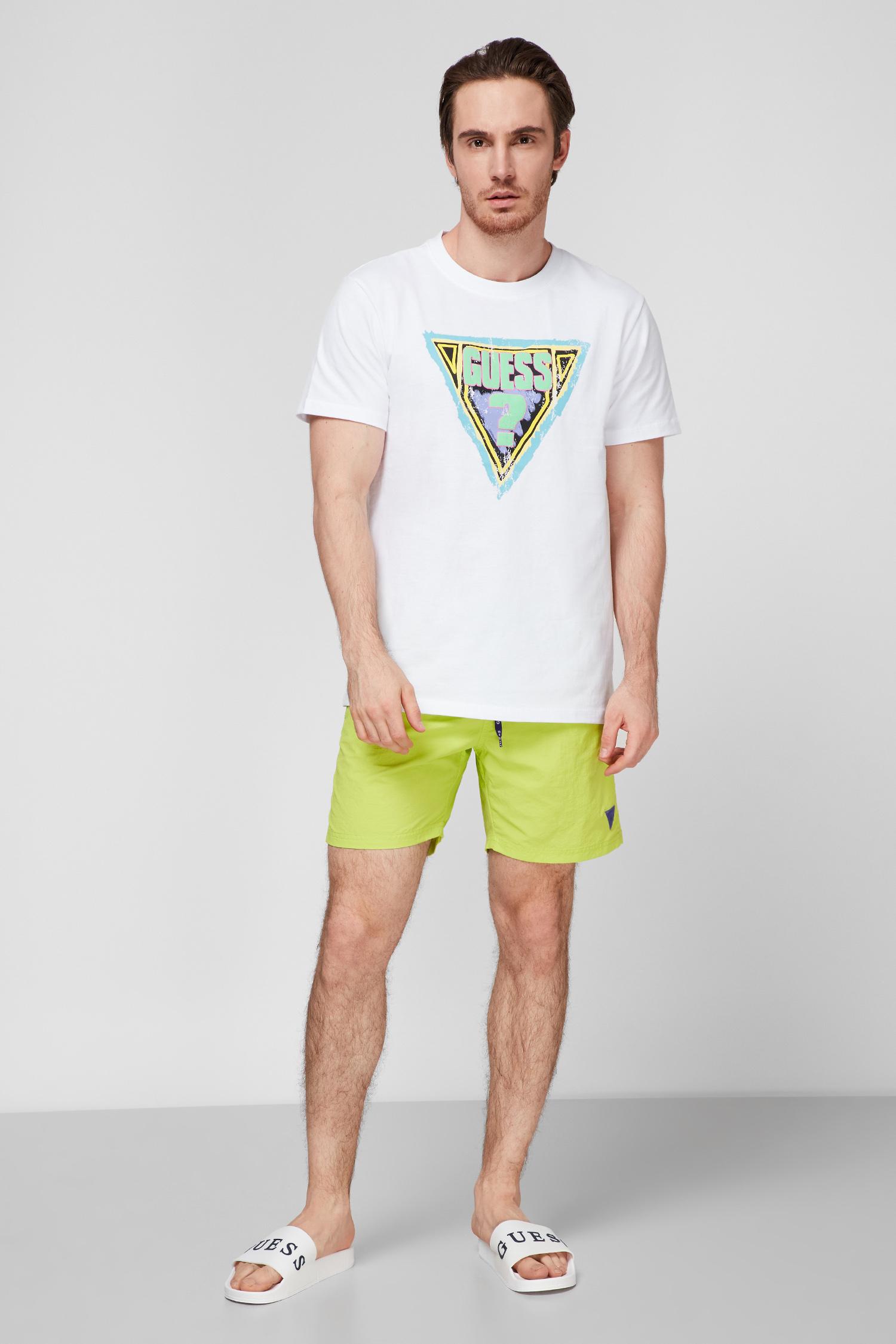 Мужские салатовые плавательные шорты Guess F02T01.TEL27;G8BU
