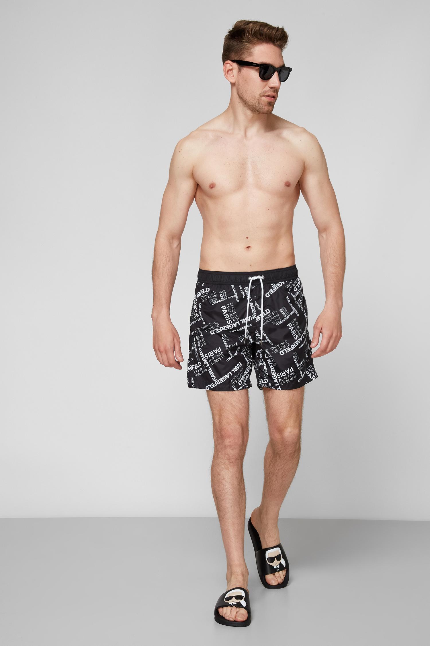 Мужские черные плавательные шорты Karl Lagerfeld KL21MBM14;BLACK