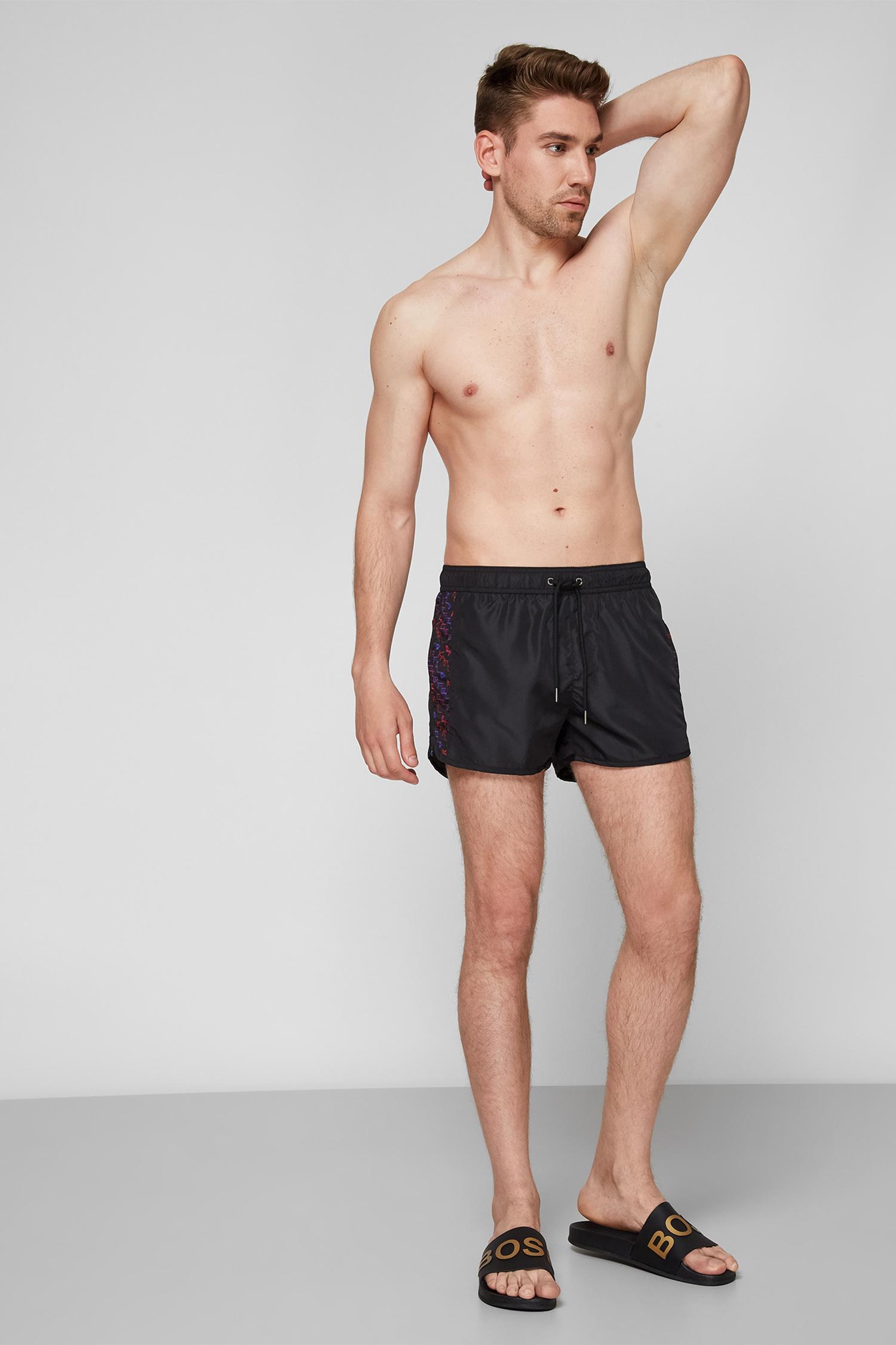 Мужские черные плавательные шорты Karl Lagerfeld KL21MBS05;RED/BLUE