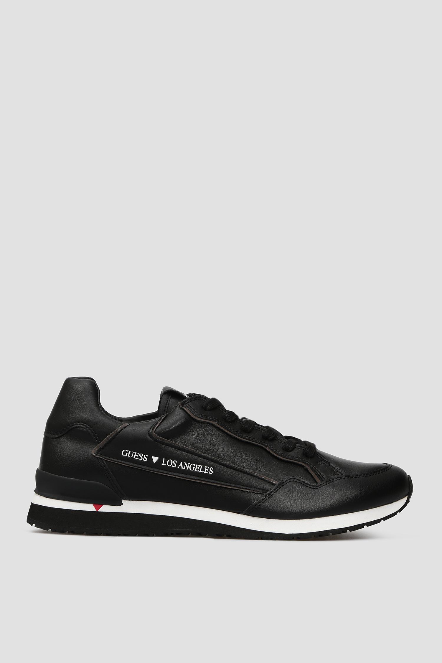 Мужские черные кожаные кроссовки Guess FM7GEN.ELE12;BLACK