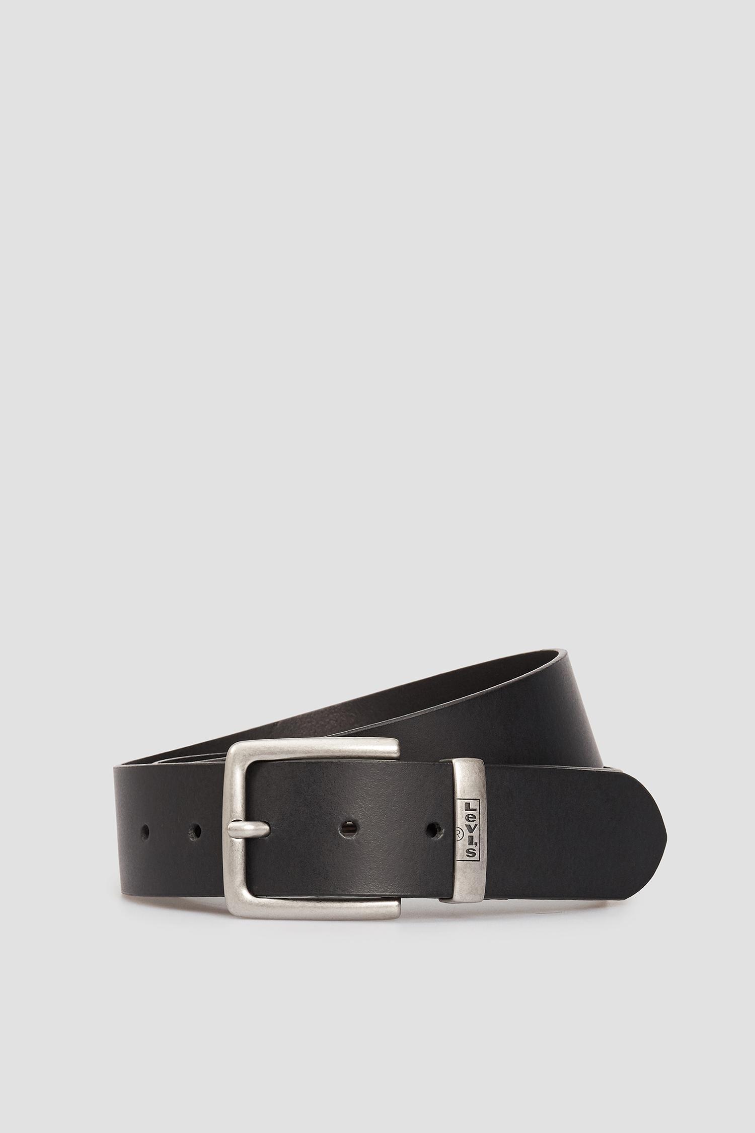Мужской черный кожаный ремень Levi's 226928;3.59