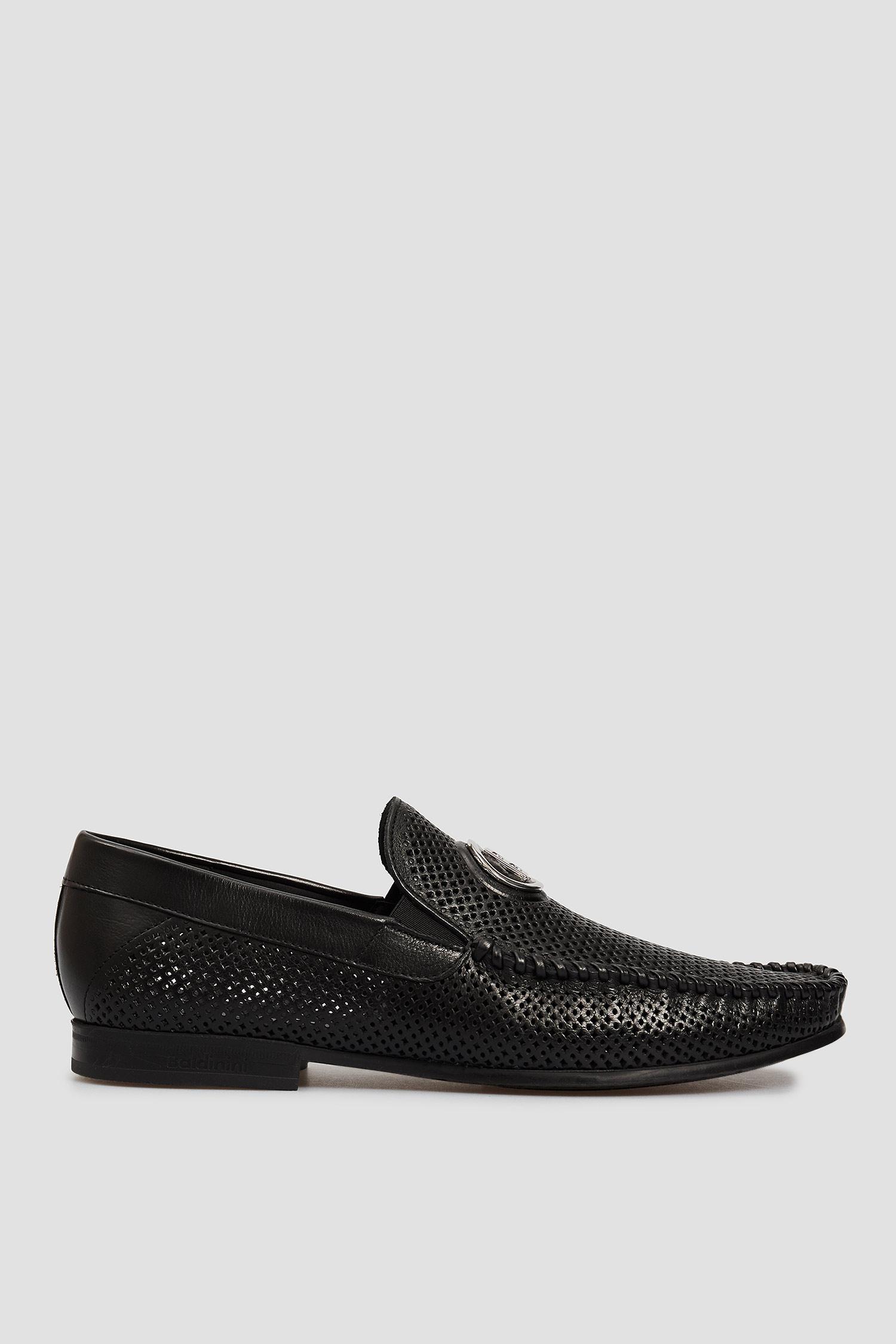 Мужские черные кожаные лоферы Baldinini 197086;00