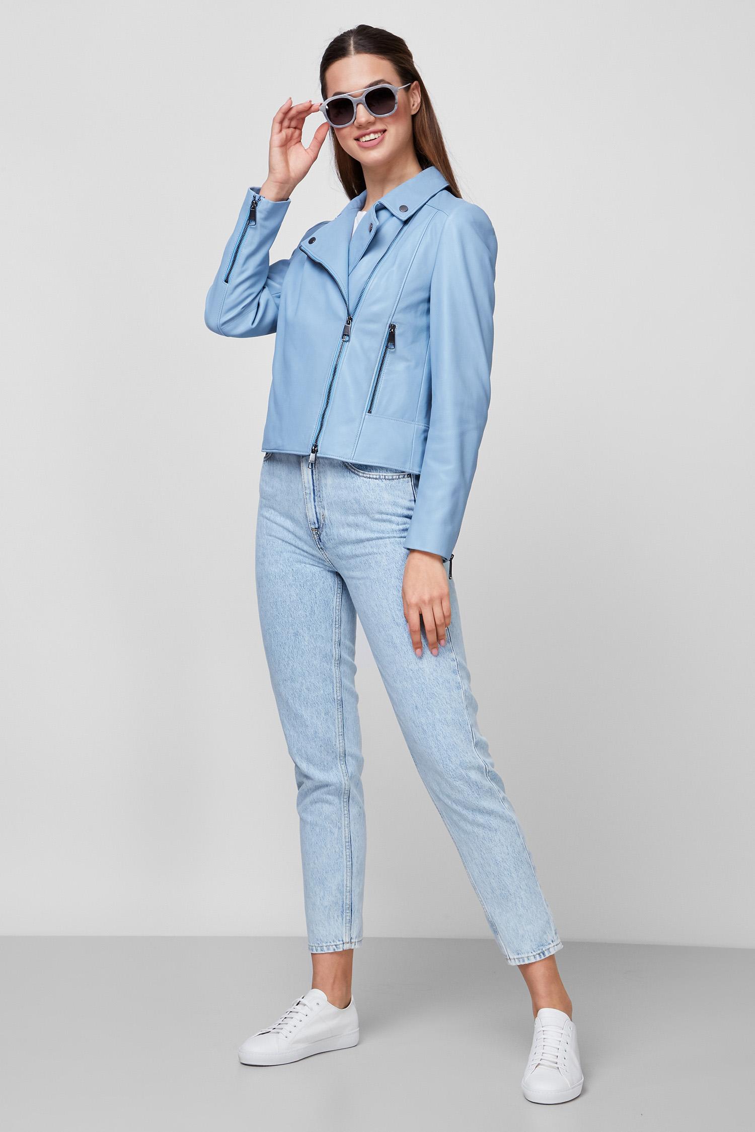 Женская голубая кожаная куртка BOSS 50442414;457