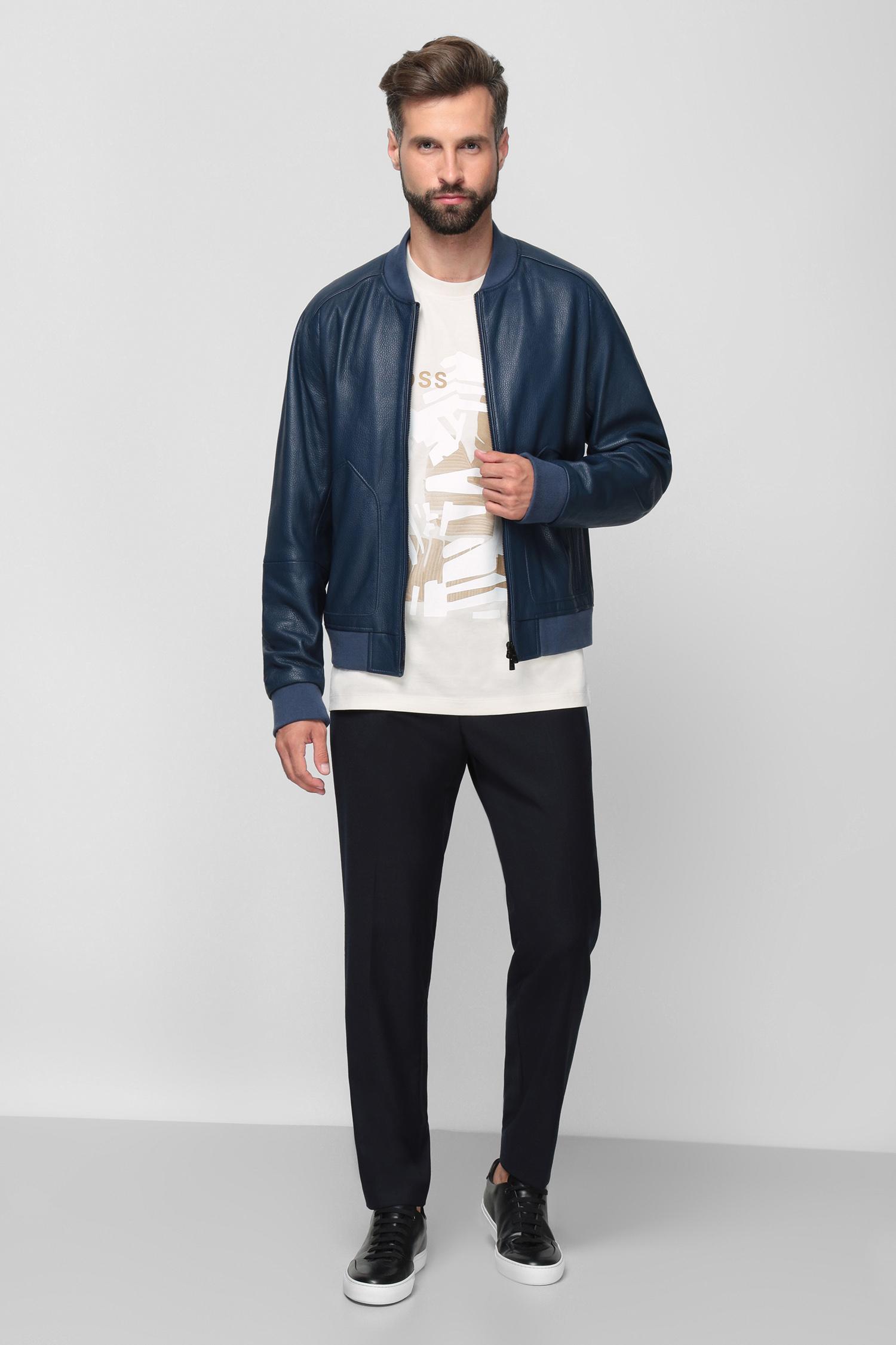 Чоловічі темно-сині вовняні брюки BOSS 50458788;401