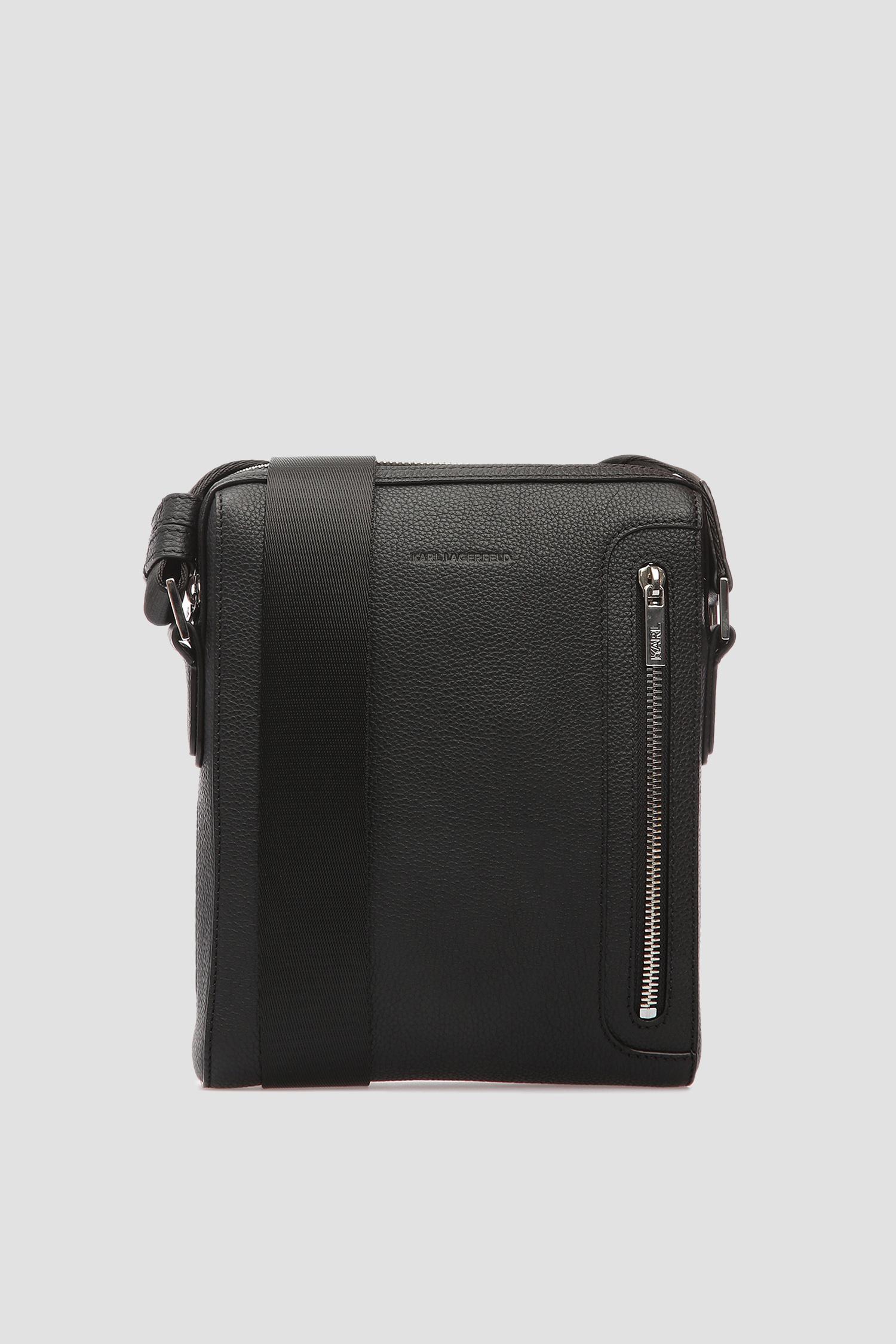 Чоловіча чорна шкіряна сумка через плече Karl Lagerfeld 591462.815409;990
