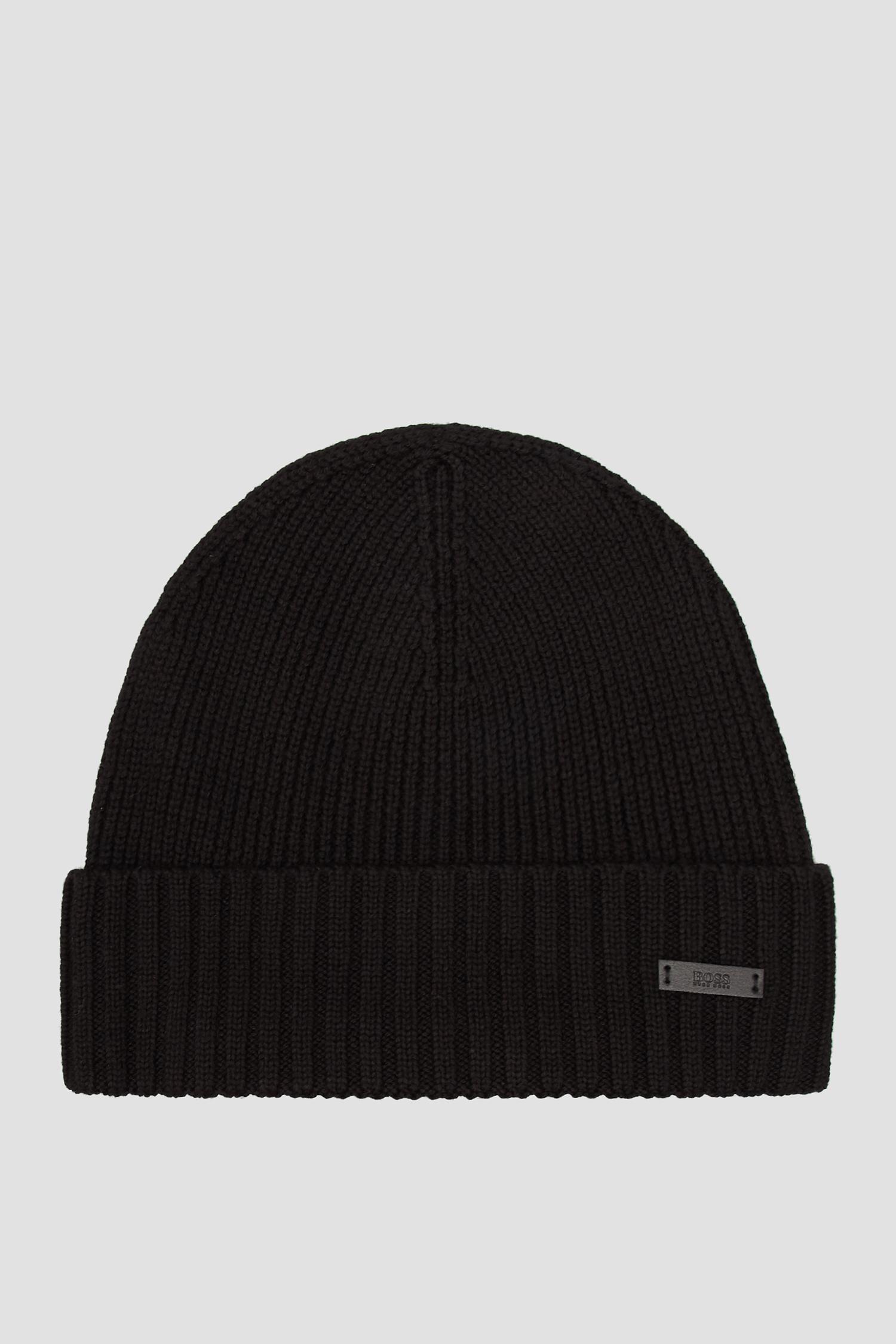Чоловіча чорна вовняна шапка BOSS 50455712;001