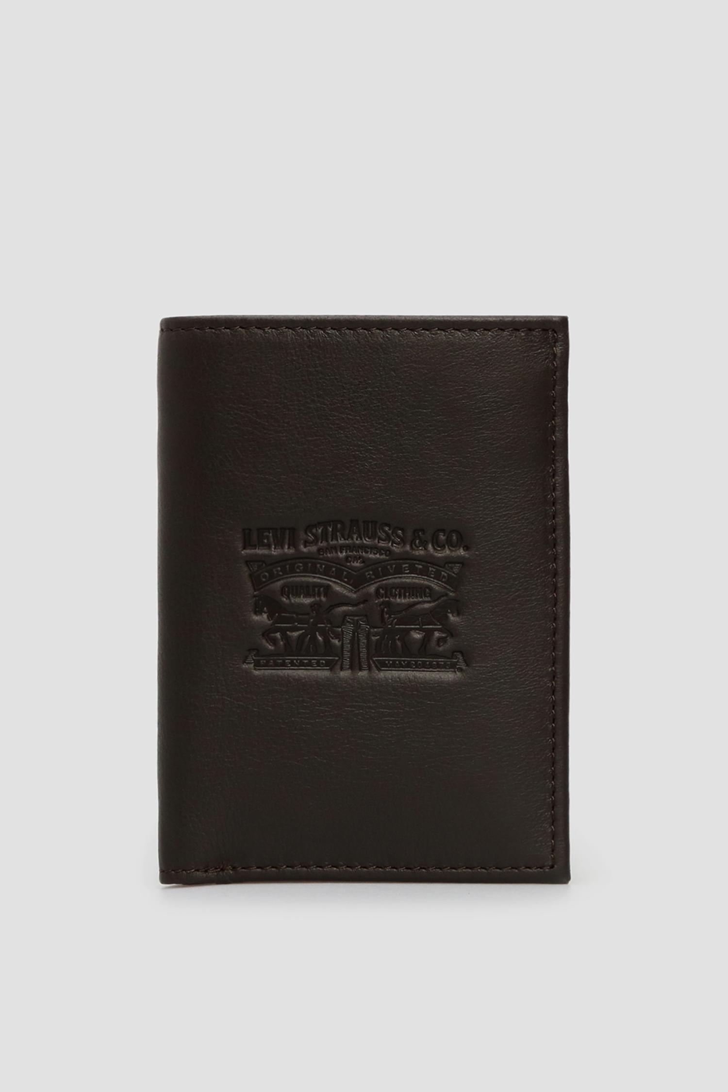 Мужской коричневый кожаный кошелек Levi's 222543;4.29