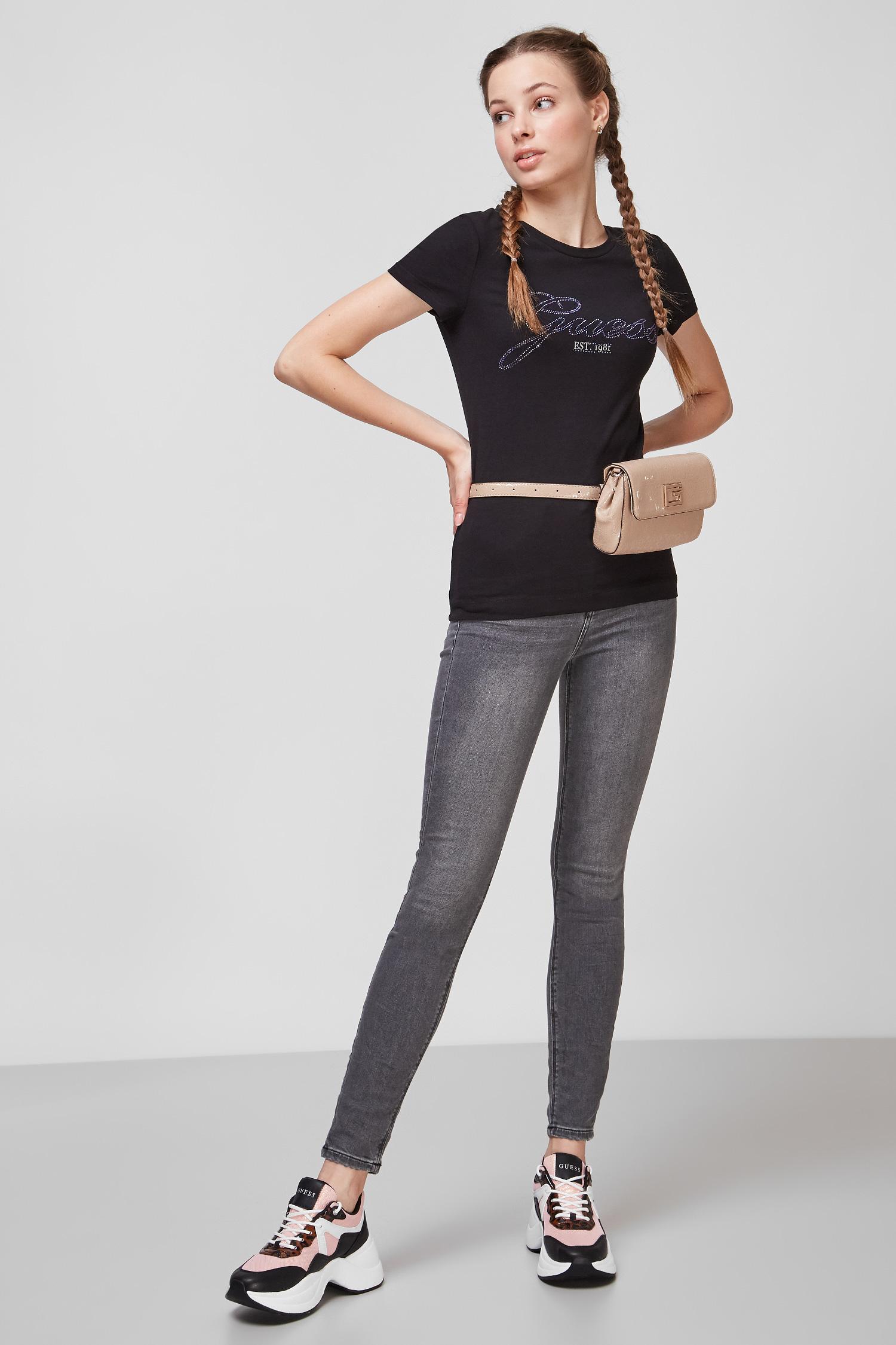 Чорна футболка для дівчат Guess W1YI85.J1311;JBLK