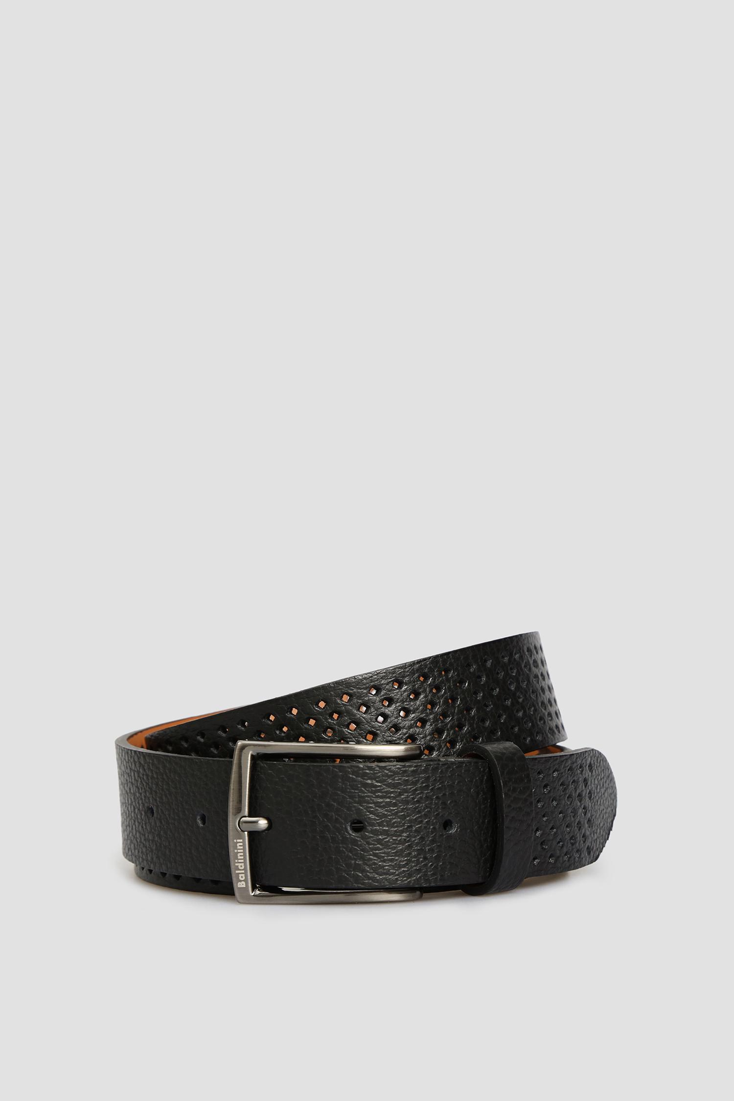 Мужской черный кожаный ремень Baldinini 174002;00