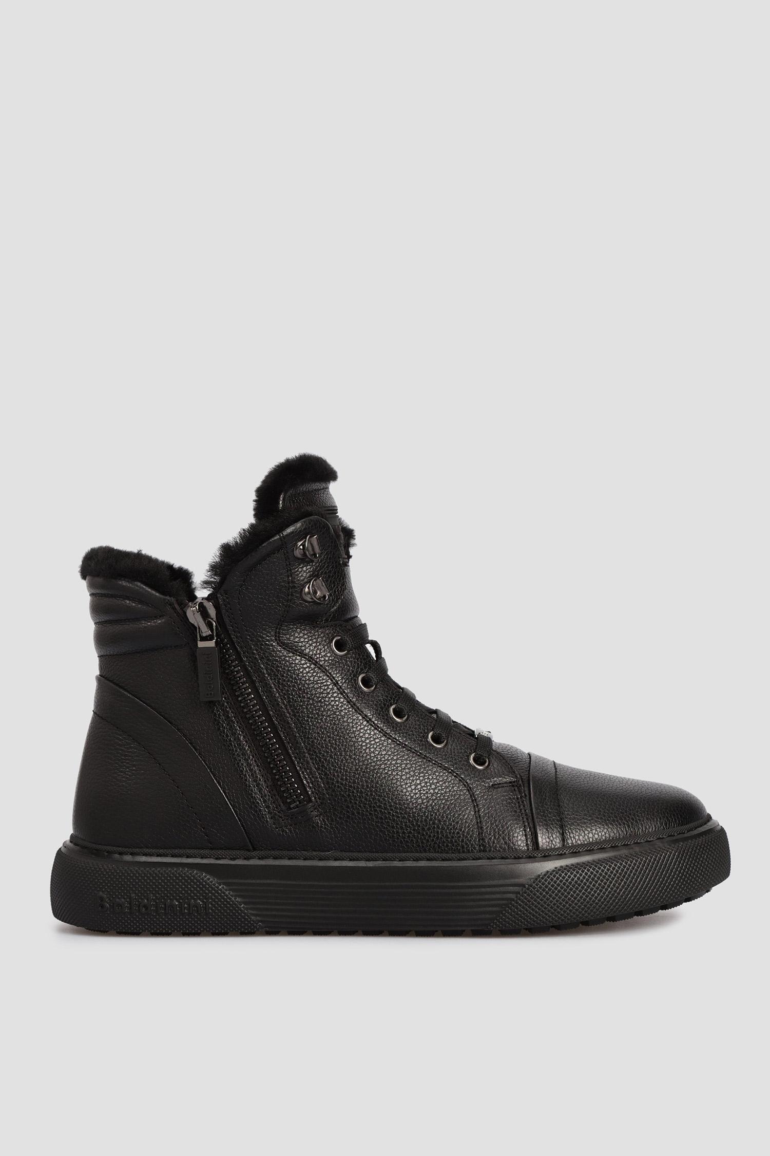 Черные кожаные хайтопы для парней Baldinini 146467;00