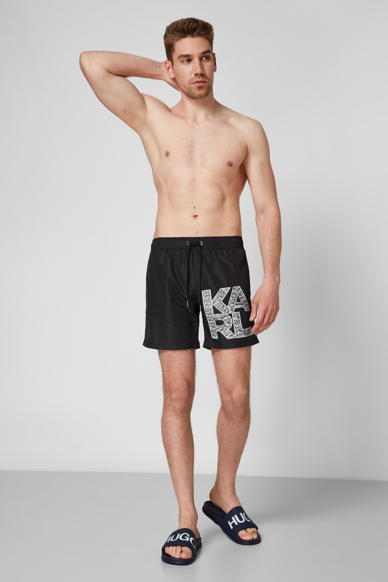 Мужские черные плавательные шорты Karl Lagerfeld KL21MBM02;ONE COLOUR