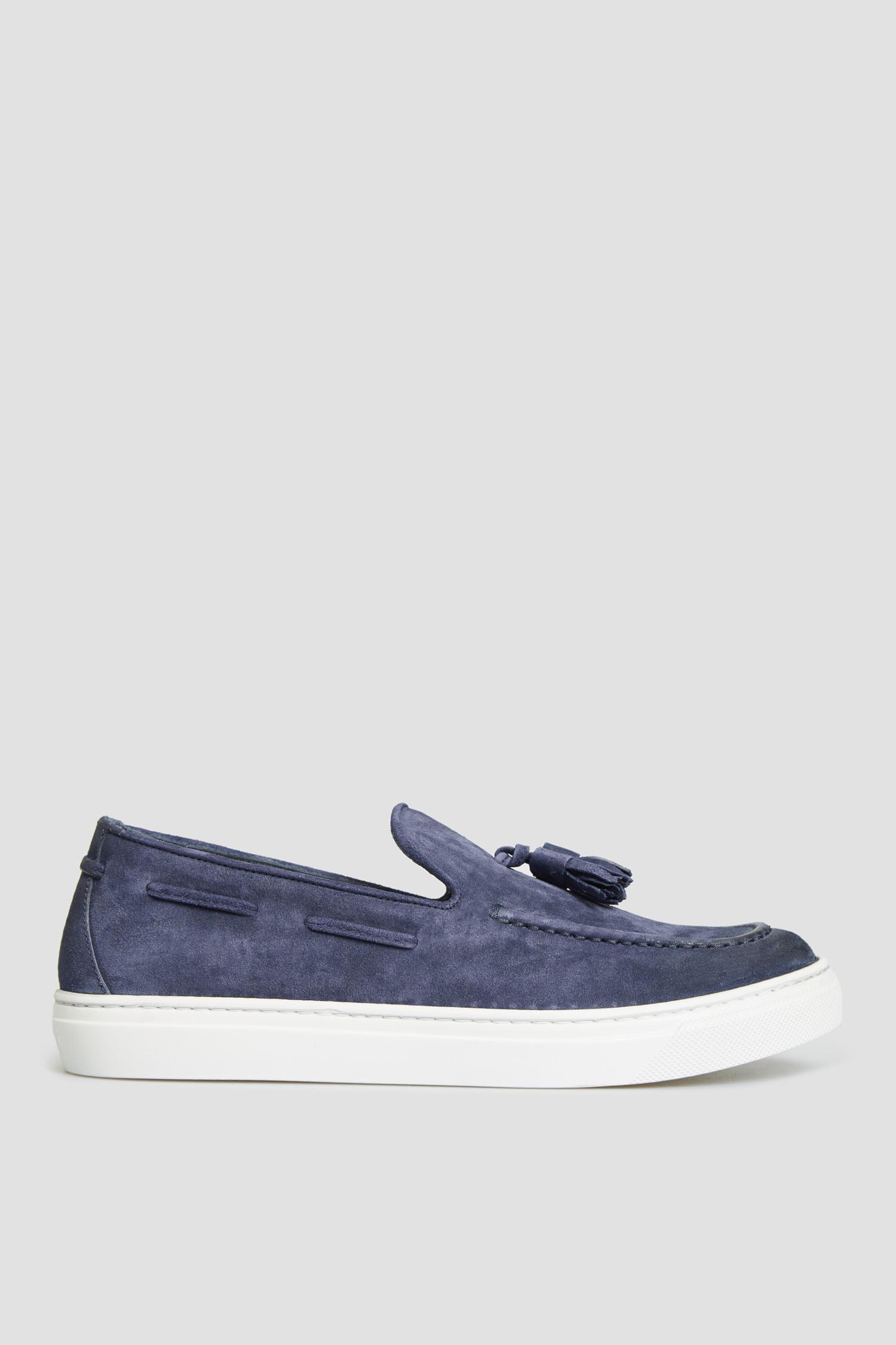 Синие кожаные слипоны для парней Baldinini 197054;10