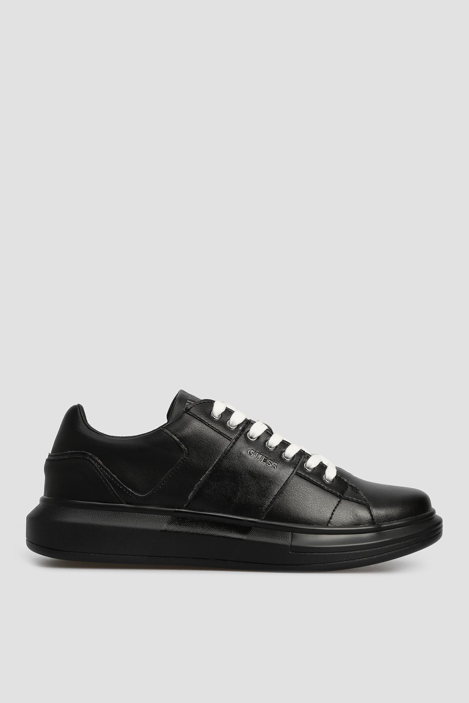 Мужские черные кожаные сникеры Guess FM7SAI.LEM12;BLACK