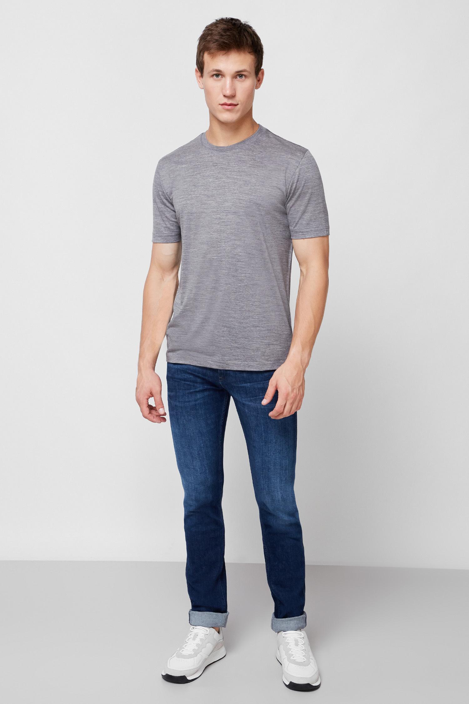 Мужская серая шерстяная футболка BOSS 50437427;041