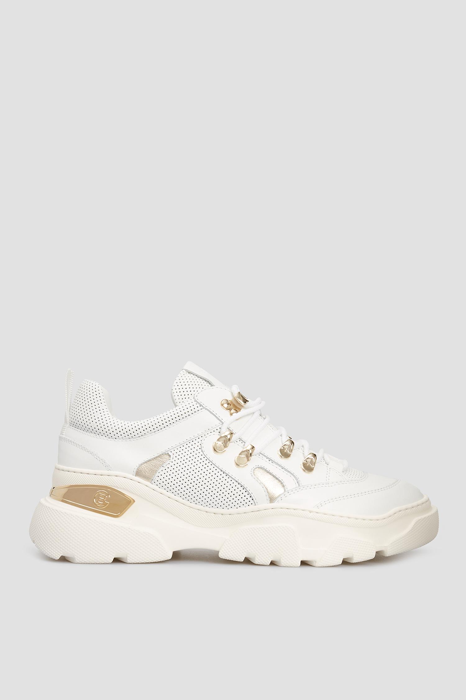 Женские белые кожаные кроссовки Baldinini 198026;9086